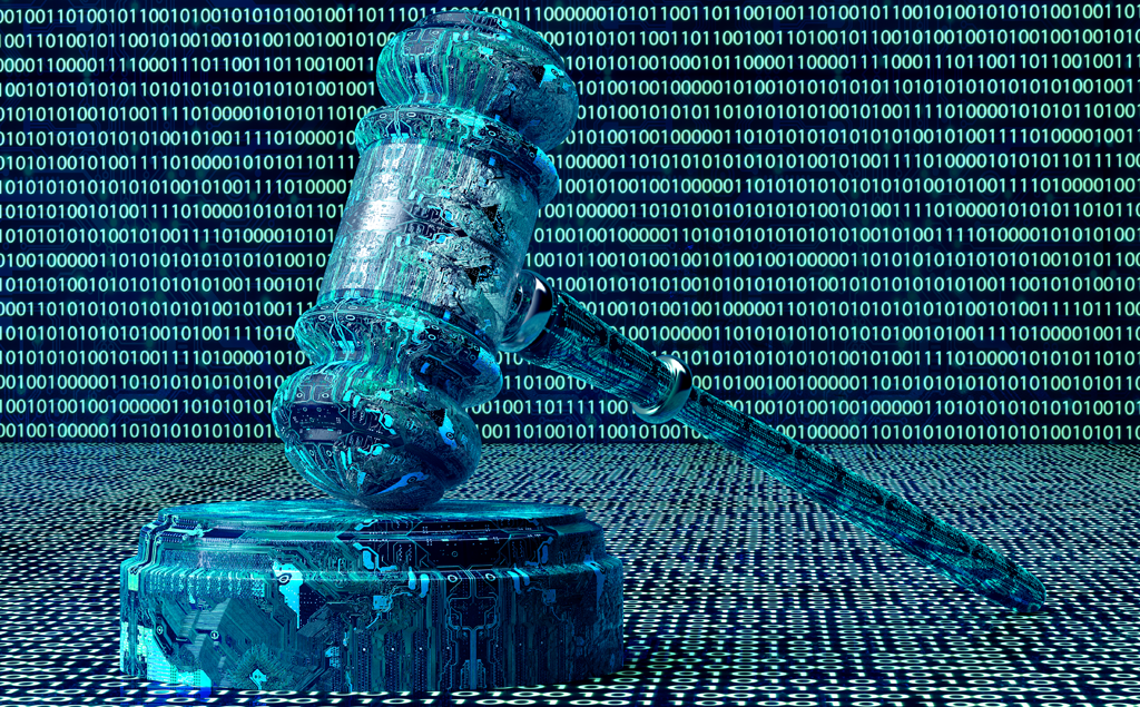 A digital gavel surrounded by data